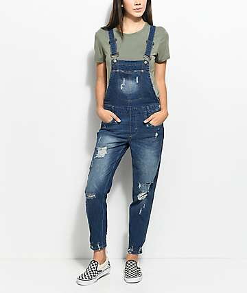 Almost Famous Krisa Ripped Boyfriend Dark Blue Overalls