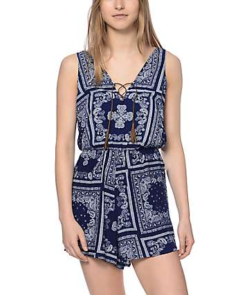 Almost Famous Lace Up Front Bandana Romper