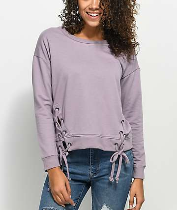 Almost Famous Lace Up Sea Fog Crew Neck Sweatshirt