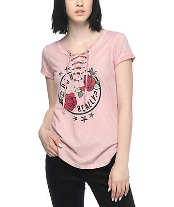 Almost Famous Lannie Ugh Lace Up Rose T-Shirt