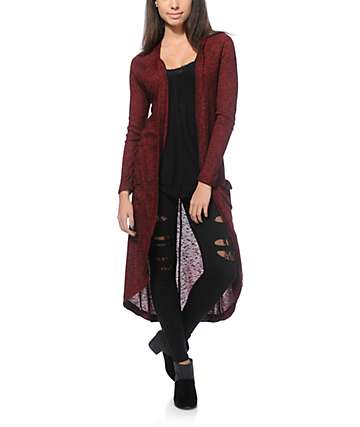 Almost Famous Leah Blackberry Cocoon Cardigan