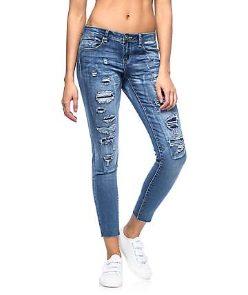 Almost Famous Lia Med Wash Frayed Ankle Destroyed Skinny Jeans
