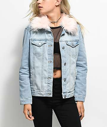 Almost Famous Light Wash & Pink Fur Collar Denim Jacket