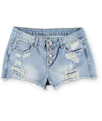 Almost Famous Light Wash Exposed Button Destroyed Shorts