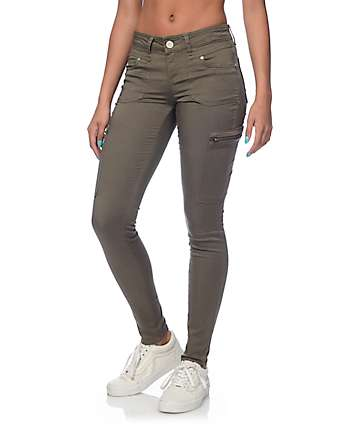 Almost Famous Liz Camo Cargo Zipper Pocket Skinny Pants