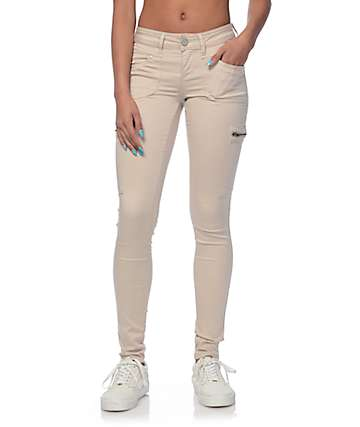 Skinny Khaki Cargo Pants For Girls