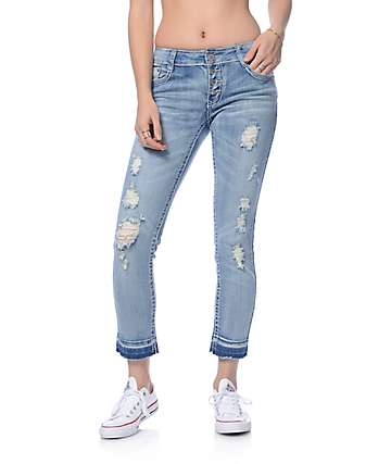 Almost Famous Medium Destroyed Exposed Button Release Hem Jeans