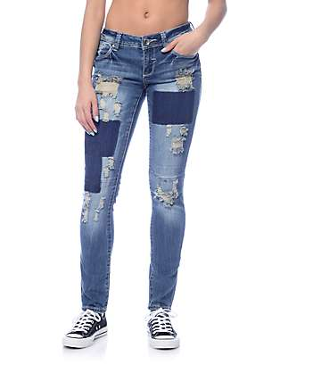 Almost Famous Medium Destroyed Patch & Knee Seam Skinny Jeans