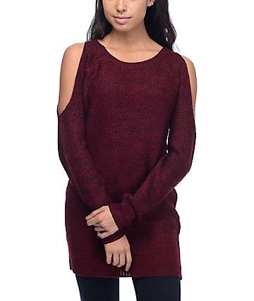 Almost Famous Peggy Burgundy Cold Shoulder Sweater