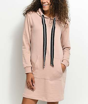 Almost Famous Pink Hooded Sweatshirt Dress