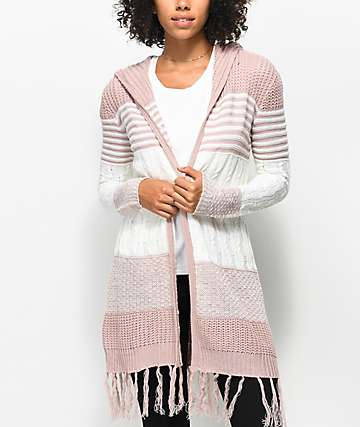 Almost Famous Quinn Striped Hooded Cardigan