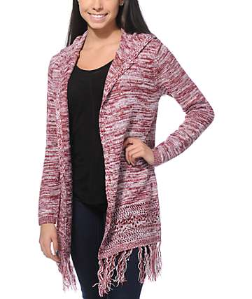 Almost Famous Renae Marled Hooded Cardigan