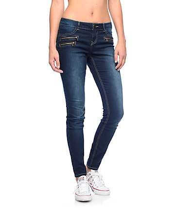 Almost Famous Sam Dark Wash Zipper Pocket Skinny Jeans