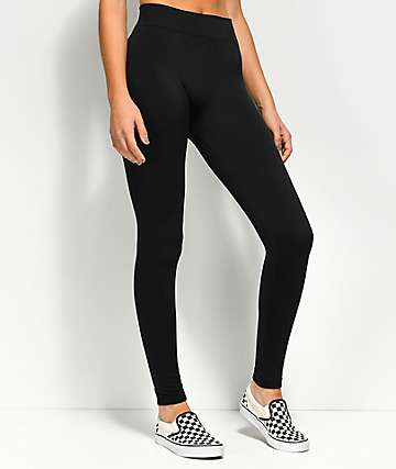 Almost Famous Seamless Fleece Lined Black Leggings