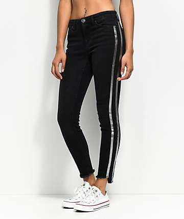 Almost Famous Tarah Metallic Stripe Black Skinny Jeans