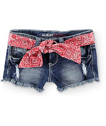 Almost Famous Tasha Bandana Belt Dark Wash Denim Shorts