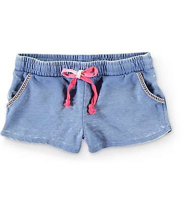 Almost Famous Teri Blue Burnwash Jacquard Tape Shorts