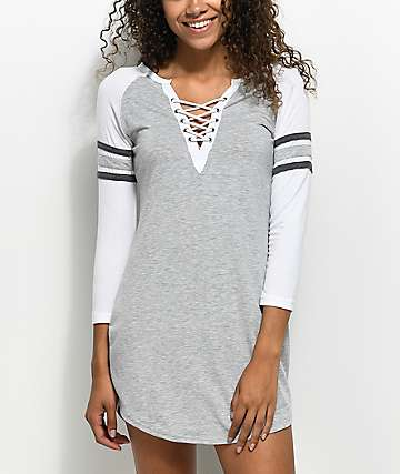 Almost Famous Varsity Lace Up Light Grey Dress