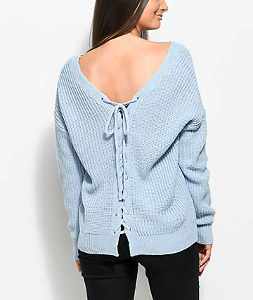 Almost Famous Wren Lace Up Back Light Blue Sweater
