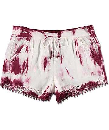 Almost Famous shorts con encaje en borde en teñido anudado borgoña y blanco