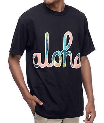 Aloha Army Camo Floral Script Black T-Shirt