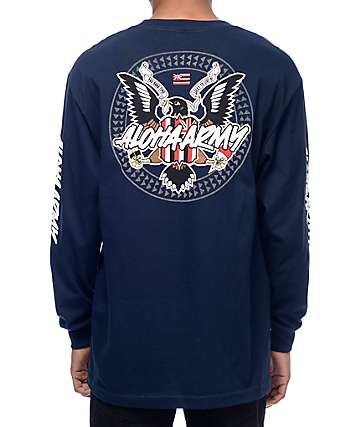 Aloha Army Mynah Set Long Sleeve Navy T-Shirt