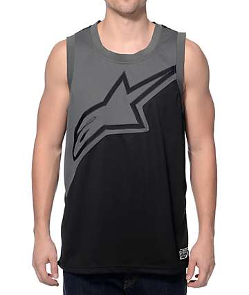 Alpine Stars Split Decision Black & Charcoal Mesh Tank Top