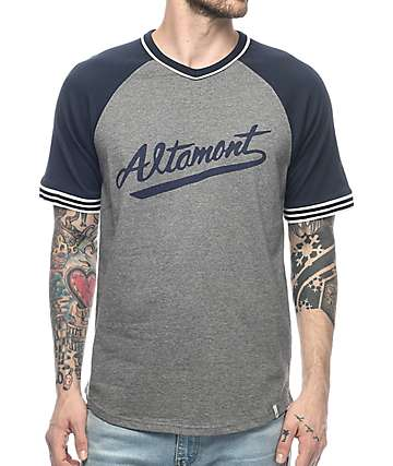 Altamont Kennet Navy & Grey Knit V-Neck T-Shirt
