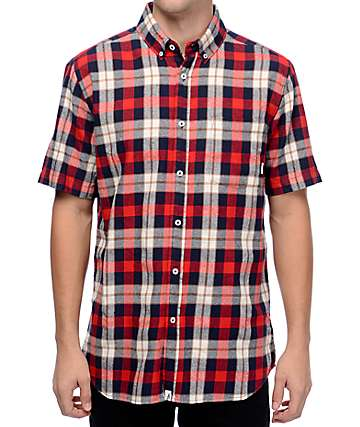Altamont Slacker Red Short Sleeve Flannel Shirt
