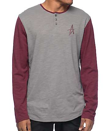 Altamont Spansive Grey & Burgundy Long Sleeve Henley T-Shirt