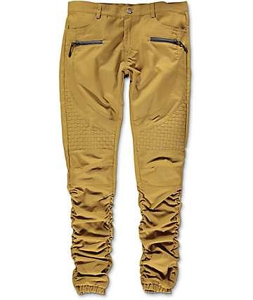 American Stitch Basket Woven pantalones jogger asargados en caqui marrón