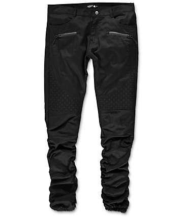 American Stitch Basket Woven pantalones jogger asargados en negro