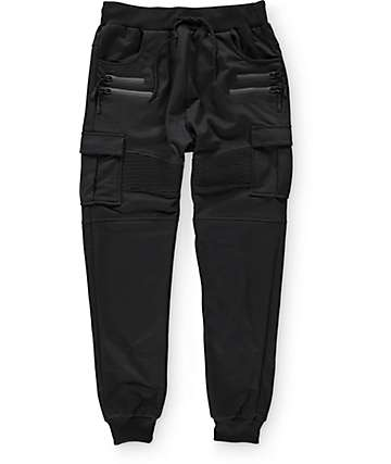 American Stitch Black Cargo Terry Jogger Pants