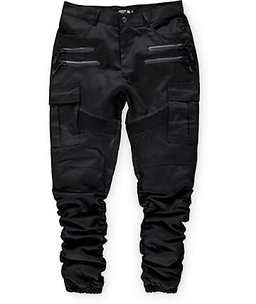 American Stitch Black Twill Cargo Bungee Jogger Pants
