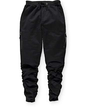 American Stitch Black Twill Zip Bungee Jogger Pants