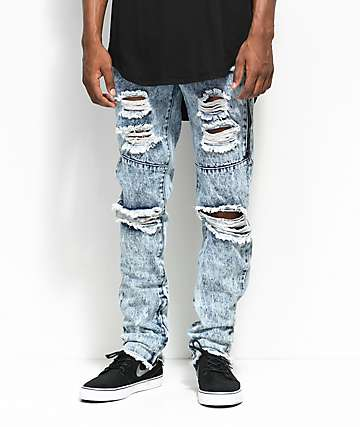 American Stitch Blue Acid Knee Ripped Denim Jeans