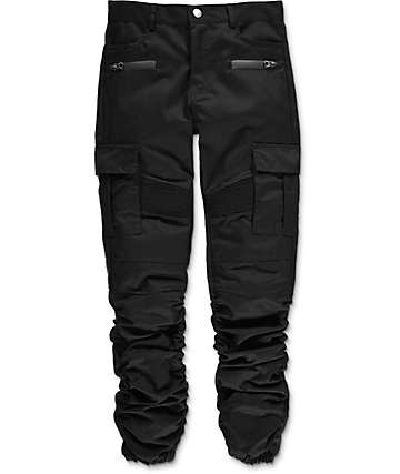 American Stitch Boys Black Cargo Twill Scrunched Jogger Pants