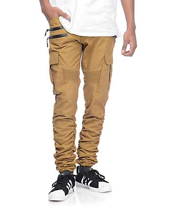 American Stitch Brown Khaki Cargo Moto Twill Bungee Jogger Pants
