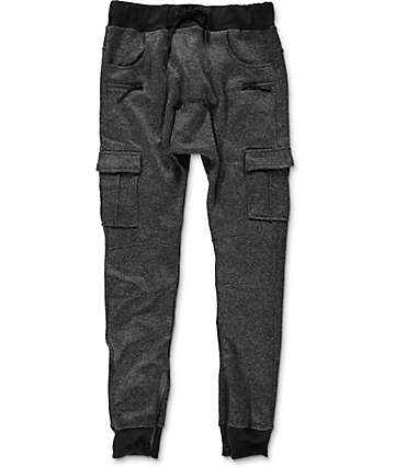 American Stitch Cargo Ankle Zip Heather Charcoal Jogger Pants