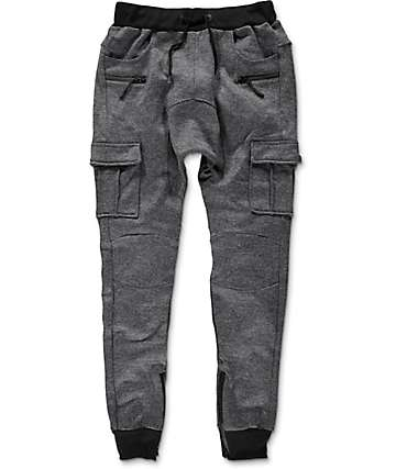 American Stitch Cargo Ankle Zip Heather Navy Jogger Pants