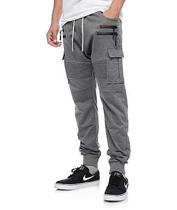 American Stitch Charcoal Cargo Terry Jogger Pants