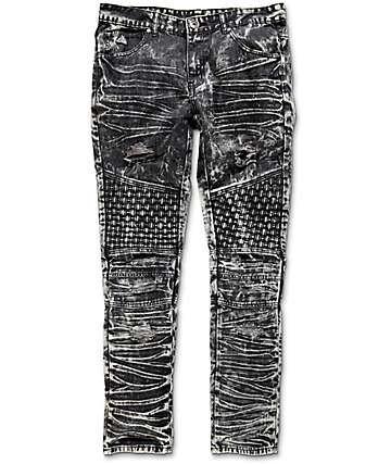 American Stitch Denim Collection Destroyed Weave Black Acid Wash Denim Jeans