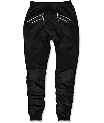 American Stitch Flight Black Knit & Nylon Jogger Pants