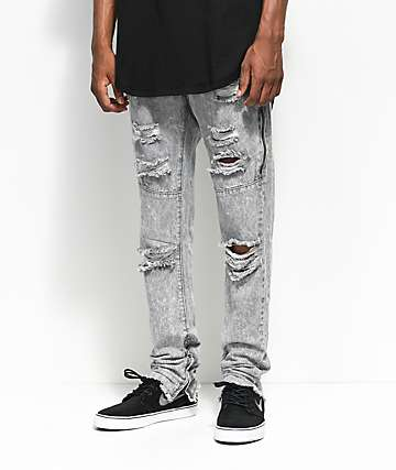 American Stitch Grey Acid Knee Ripped Denim Jeans