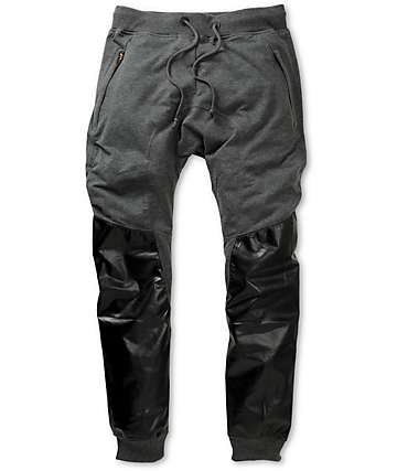 American Stitch Harem Grey & Black Polyurethane Jogger Sweatpants