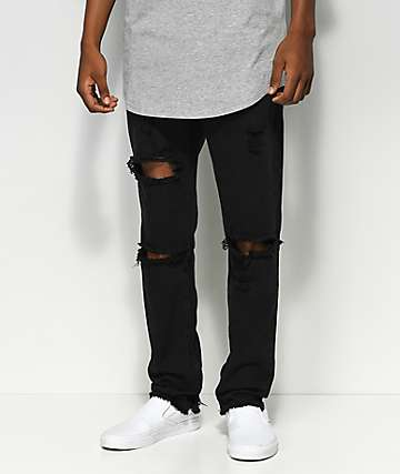 American Stitch Knee Ripped Black Denim Jeans