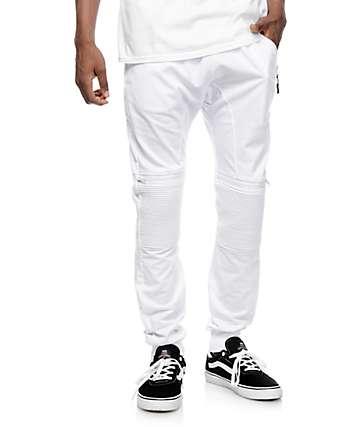 American Stitch Moto Zip pantalones blancos jogger
