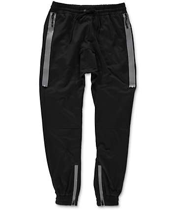 American Stitch Outside Zip Black Jogger Pants