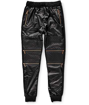 American Stitch Quilted Moto Polyurethane Jogger Pants