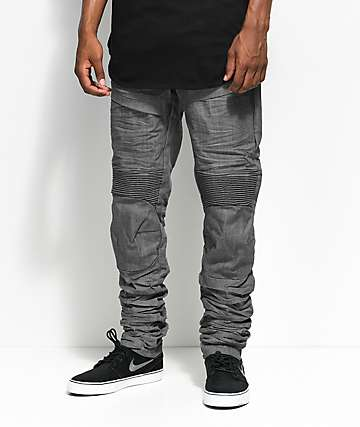 American Stitch Raw Grey Moto Denim Jeans